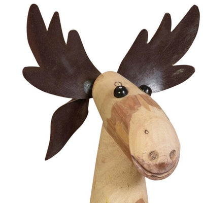 19 Wooden Moose Design Accent Decor Medium Brown By Casagear Home BM229819