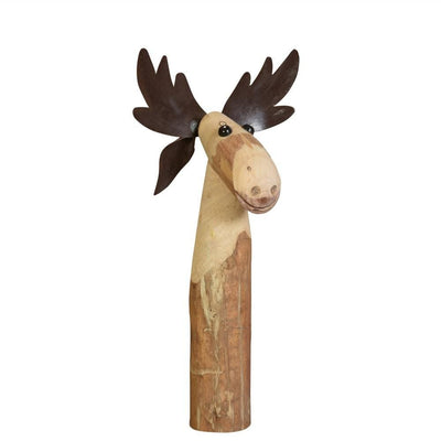"19"" Wooden Moose Design Accent Decor, Medium, Brown By Casagear Home"