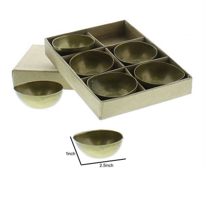 Metal Tealight Candle Holder with Box Set of 6 Brass By Casagear Home BM229821