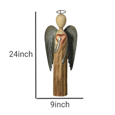 24 Wooden Angel Accent decor with Heart Large Brown By Casagear Home BM229830