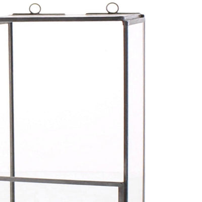 8 Metal and Glass Box Shelf Gray and Clear by Casagear Home BM229866