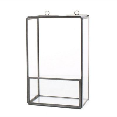 "8"" Metal and Glass Box Shelf, Gray and Clear by Casagear Home"