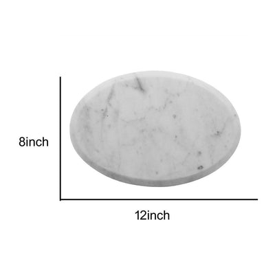 17 Oval Marble Cheese Board with Beveled Edges White by Casagear Home BM229879