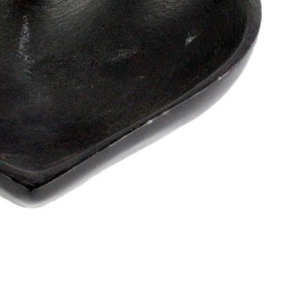 4.25 Textured Heart Shaped Soapstone Bowl Black by Casagear Home BM229886