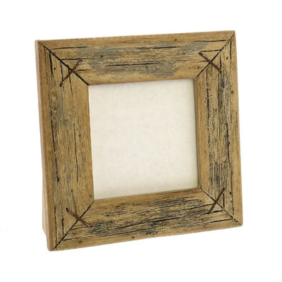 "4"" Square Wooden Frame with Textured Details, Brown by Casagear Home"