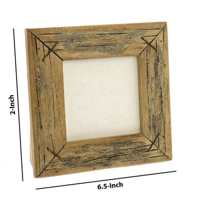 4 Square Wooden Frame with Textured Details Brown by Casagear Home BM229904
