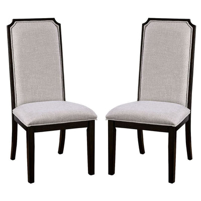Open X Back Leatherette Seat Wood Chair, Set of 2, Dark Brown By Casagear Home