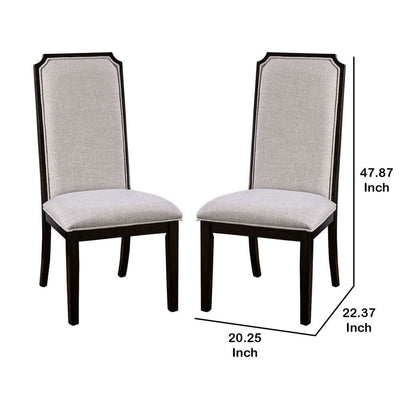 Open X Back Leatherette Seat Wood Chair Set of 2 Dark Brown By Casagear Home BM230070