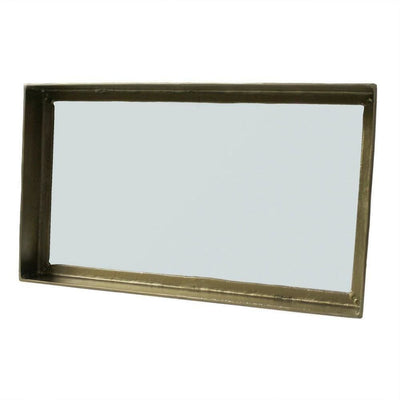 4.25'' Rectangular Metal Mirror with Raised Frame, Brass By Casagear Home