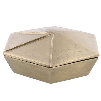 8'' Metal Hexagonal Shaped Box with Lid, Large, Silver By Casagear Home