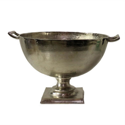 18'' Metal Bowl Design Urn with Curved Handles, Silver By Casagear Home