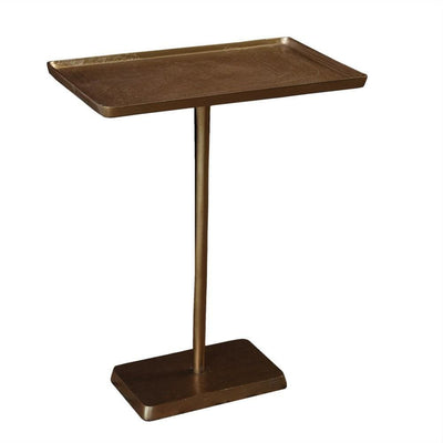 12'' Tray Top Side Table with Tubular Support, Brass By Casagear Home