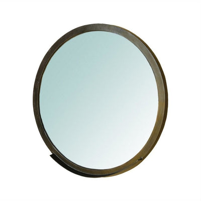 29.5'' Round Shape Metal Mirror with Ledge,Antique Bronze By Casagear Home