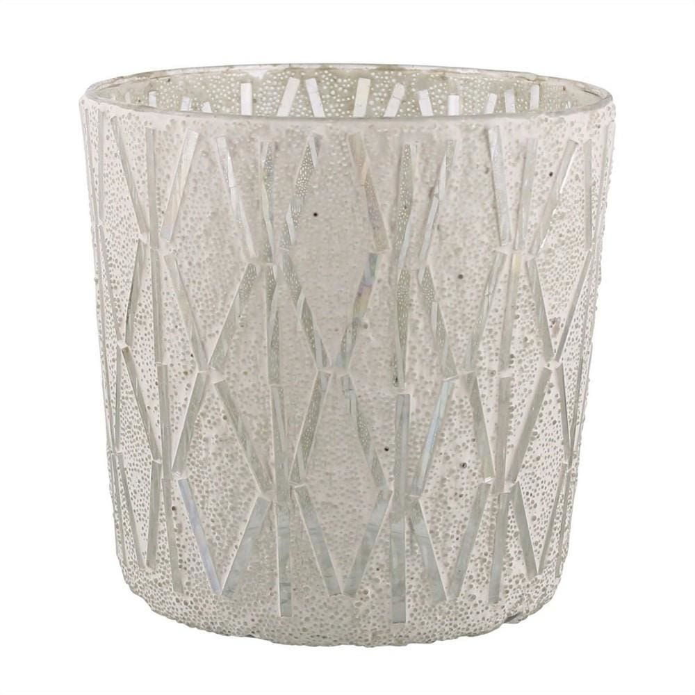 6'' Round Shaped Glass Vase with Geometric Pattern, White By Casagear Home