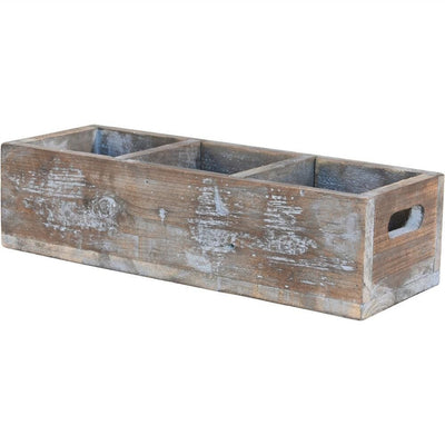 "6"" Wooden Crate with 3 Compartments, Weathered Brown by Casagear Home"