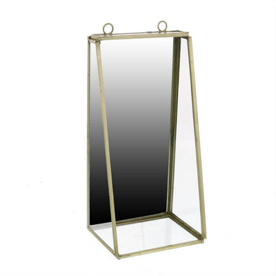 "8.5"" Glass Shelf Metal Wall Mirror, Small,White and Silver By Casagear Home"