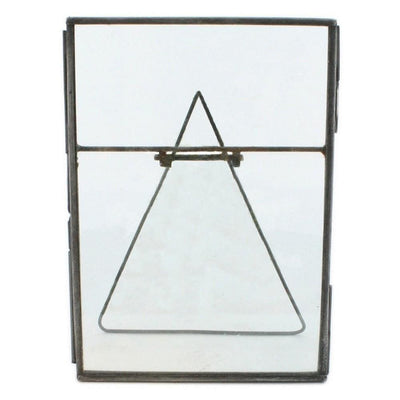 "7"" Metal Vertical Easel Frame with Glass Panel, Gray By Casagear Home"