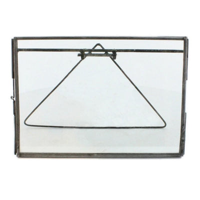 "7"" Metal Horizontal Easel Frame with Glass Panel, Gray By Casagear Home"
