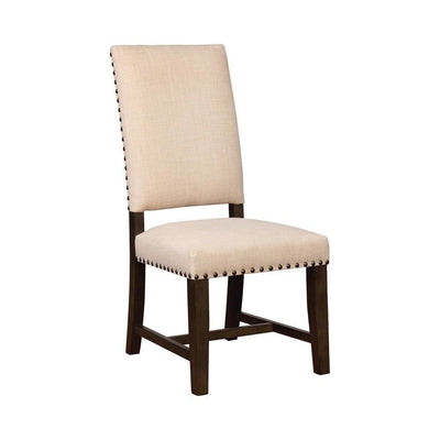 "19.5"" Nailhead Trim Fabric Side Chair, Set of 2, Beige By Casagear Home"
