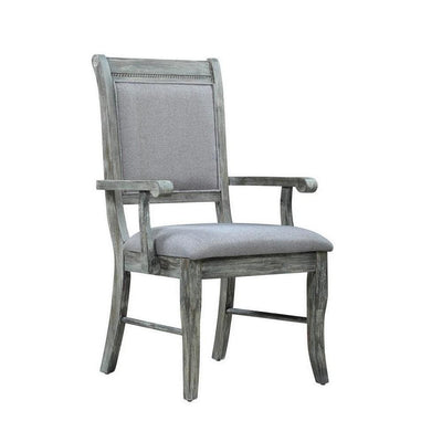 "40"" Wooden Arm Chair with Cushion Seat, Set of 2, Gray By Casagear Home"