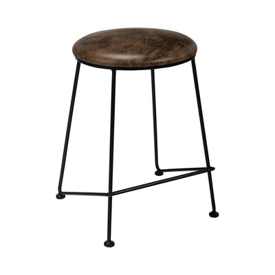 Round Counter Height Stool with Metal Legs, Brown & Black By Casagear Home