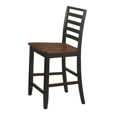 Dual Tone Wooden Counter Height Chair, Set of 2, Black By Casagear Home