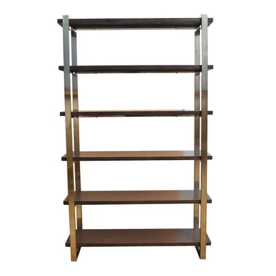 "65.5"" Metal Bookcase with 5 Tier Wooden Shelves, Brass By Casagear Home"