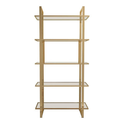 "5 Tier Glass Shelf 79"" Metal Frame Bookcase,Gold and Clear By Casagear Home"