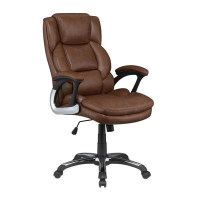Leatherette Office Chair with Metal Star Base, Brown By Casagear Home