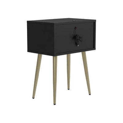 2 Drawer Accent Table with Metal Legs, Black and Gold By Casagear Home