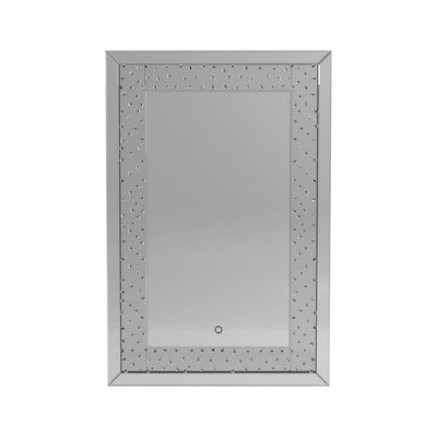 Rectangular Shape Wall Mirror with LED Fixture, Silver By Casagear Home