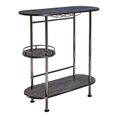 Oblong Metal Bar Unit with Stemware Rack, Gray and Chrome By Casagear Home