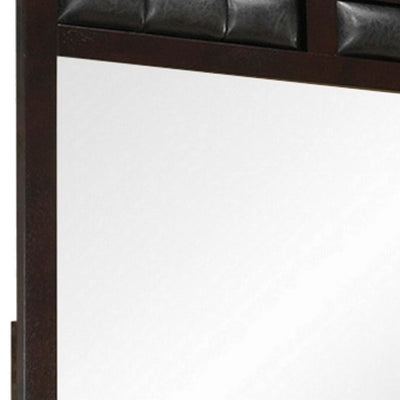 Rectangular Wooden Frame Mirror with Leatherette Panels Brown By Casagear Home BM230501