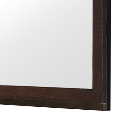 Wooden Frame Mirror with Mounting Hardware Dark Brown By Casagear Home BM230506