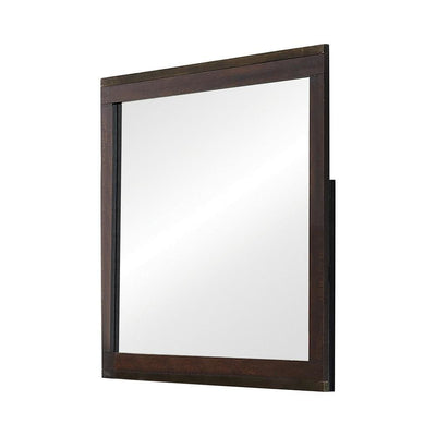 Wooden Frame Mirror with Mounting Hardware, Dark Brown By Casagear Home