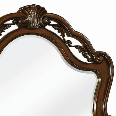 Bombe Wooden Frame Mirror with Crown Top and Carvings Dark Brown By Casagear Home BM230508