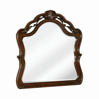 Bombe Wooden Frame Mirror with Crown Top and Carvings, Dark Brown By Casagear Home
