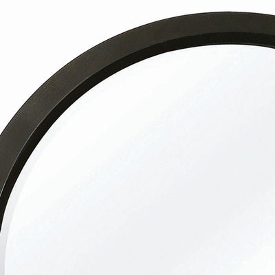Contemporary Round Wooden Frame Mirror with Mounting Hardware Black By Casagear Home BM230510