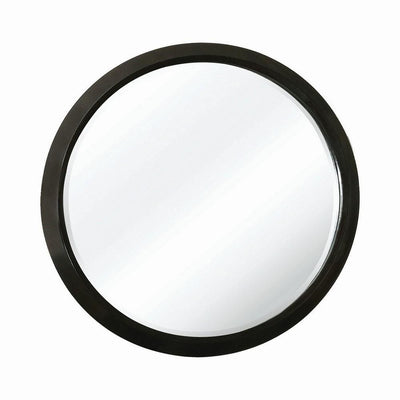 Contemporary Round Wooden Frame Mirror with Mounting Hardware, Black By Casagear Home