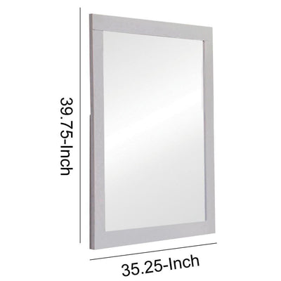 Wooden Frame Mirror with Mounting Hardware White By Casagear Home BM230512