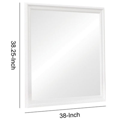 Molded Wooden Frame Mirror with Mounting Hardware White By Casagear Home BM230514