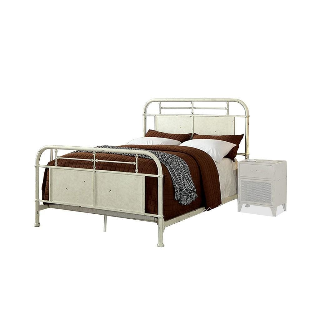 Metal Queen Bed with Spindle Design, Distressed White By Casagear Home