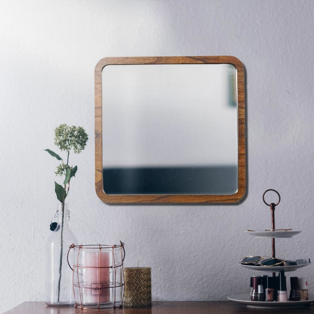 Two Tone Rectangular Wooden Frame Mirror, Brown by Casagear Home