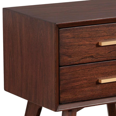 25 Inch 2 Drawer Wooden Nightstand with Bar Pulls Brown by Casagear Home BM230746