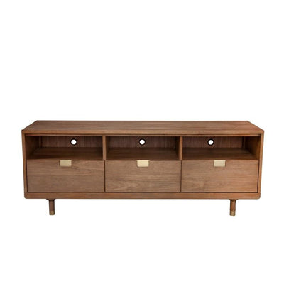 64 3-Drawer TV Console with Open Compartments Brown By Casagear Home BM230762