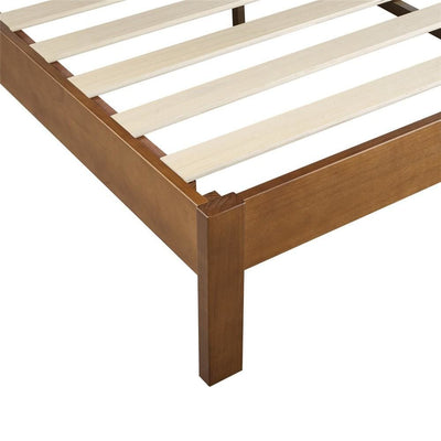 Wooden Platform Style King Bed with Straight Legs Brown By Casagear Home BM230835
