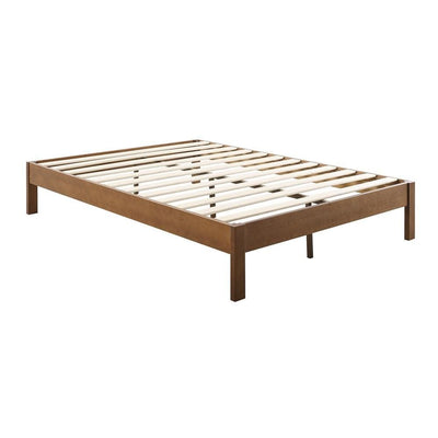 Wooden Platform Style King Bed with Straight Legs, Brown By Casagear Home