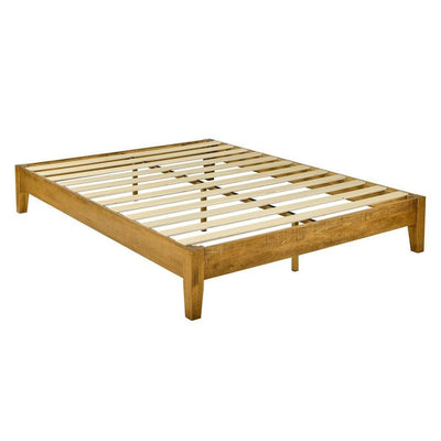 Platform Style Wooden King Bed with Chamfered Feet Brown By Casagear Home BM230843