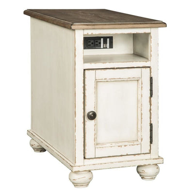 Wooden Chairside End Table with Door, Brown & Antique White By Casagear Home