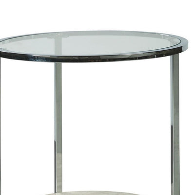 48 Round Glass Top End Table with Stone Shelf,Clear & Chrome By Casagear Home BM230949